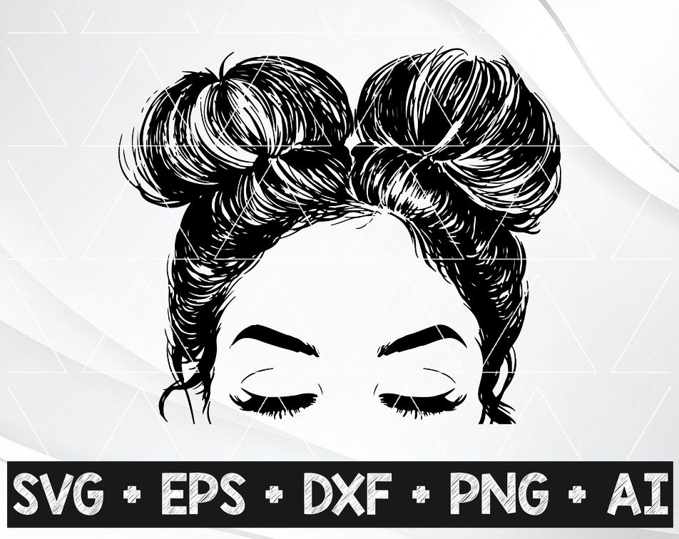 Girl With Messy Buns Double Buns Two Buns Easy Weed Svg And Png For Cricut And Decals Stickers Cute Girl Girl Bun Designbtf Com