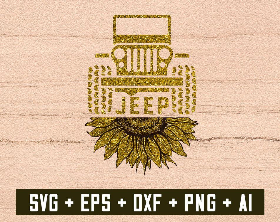 Sunflower Jeep PNG file instant download, Digital Dowload ...