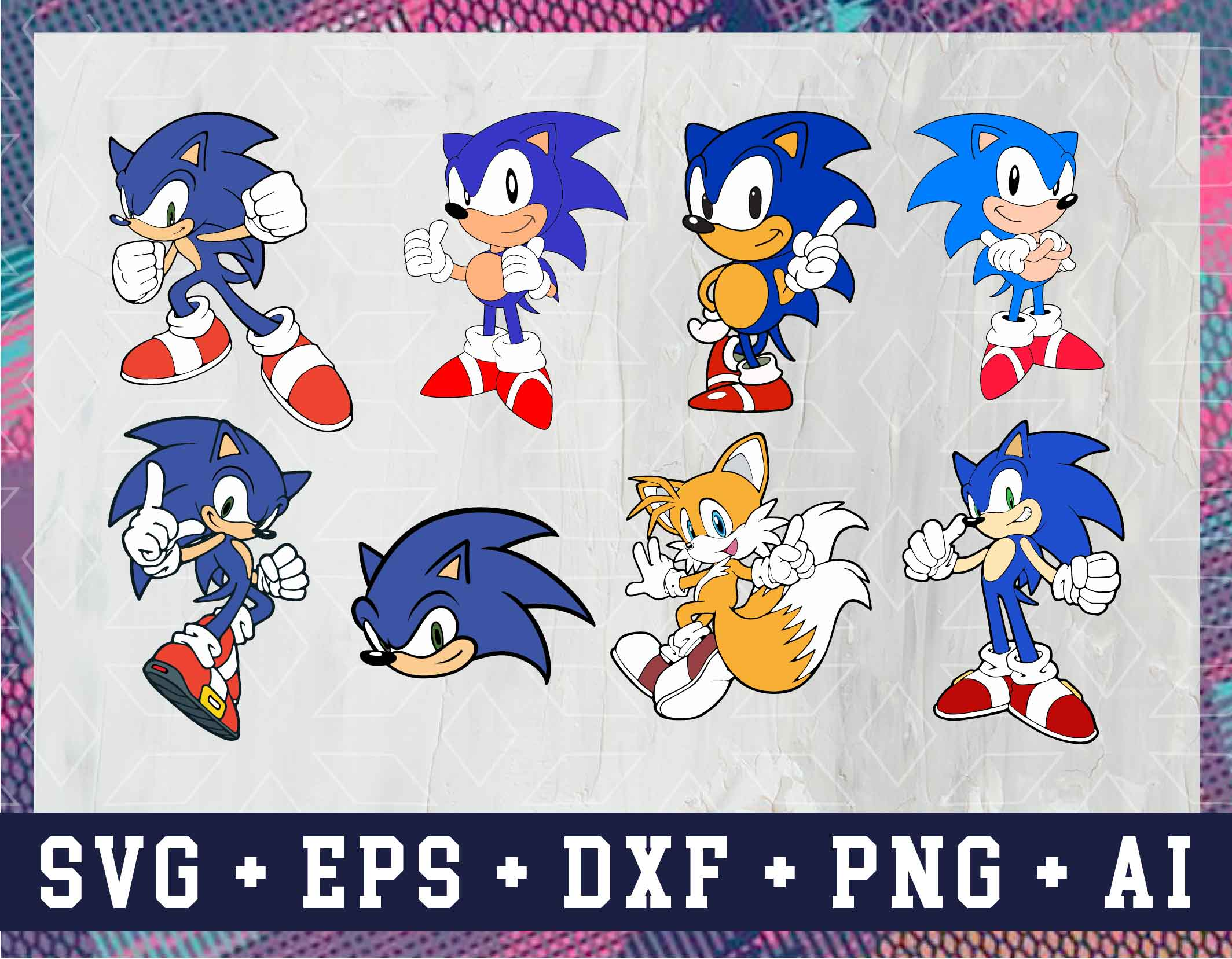 12 Sonic Svg Vector Clipart Sonic Hedgehog Cut Files For Cricut Png Svg Eps And Ai Designbtf Com
